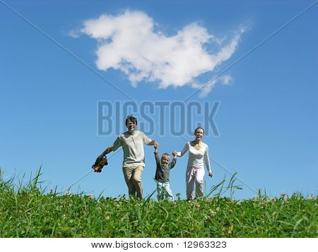 family sunny day and cloud
