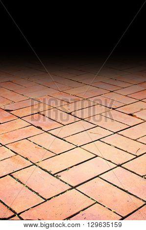 close up Perspective background : orange brick floor.