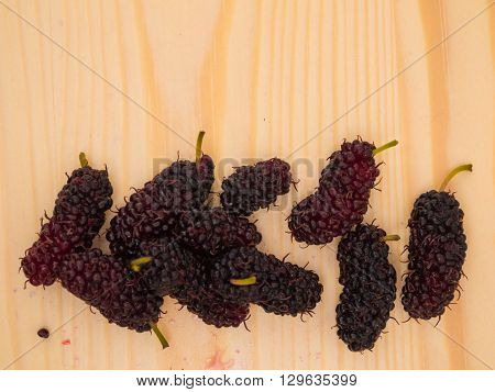 Group Of  Mulberry On Wooden