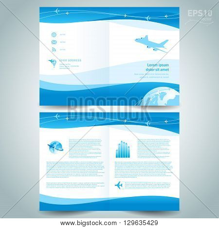 booklet catalog brochure folder airplane takeoff flight tickets air fly cloud sky blue white color travel background