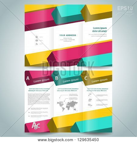 colored 3d line squares brochure design template folder leaflet white background