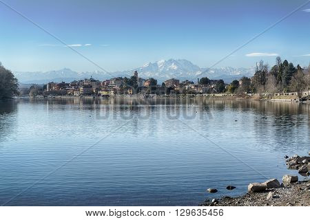River Ticino and glacier of Monte Rosa seen from Sesto Calende in a beautiful afternoon of spring.
