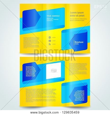 brochure design template vector leaflet blue arrow ribbon yellow background