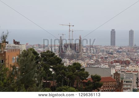 Barcelona, Spain - CIRCA September 2012: Sagrada Familia is a large Roman Catholic church in Barcelona, designed by Spanish architect Antoni Gaudi