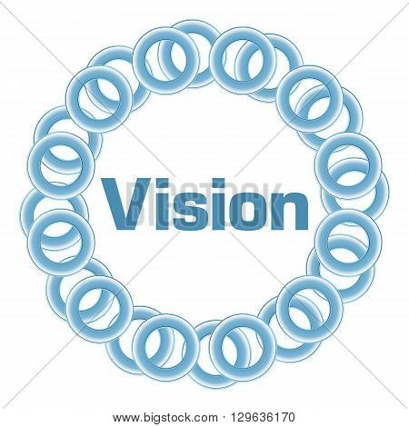 Vision text written over blue circular background.