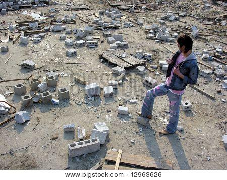 man on ruins