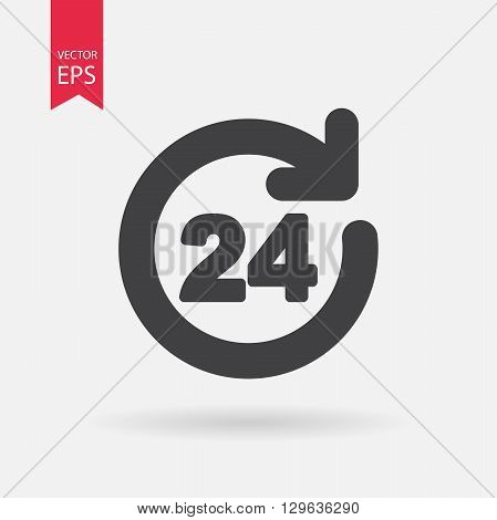 Open 24 hours vector icon. Open 24 hours logo flat design style. Isolated on white background. Vector illustration.