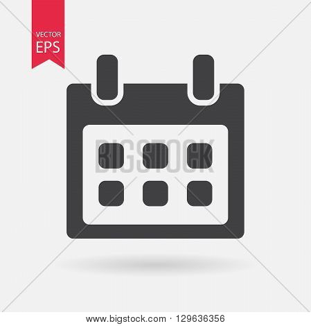 Calendar vector icon. Calendar Clock logo flat design style. Isolated on white background. Vector illustration.