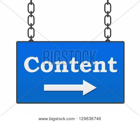 Content text written over blue hanging signboard.