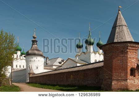 Rostov the Great in spring view to the kremlin The Church Of St. John The Evangelist and . The Golden Ring of Russia