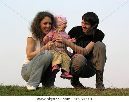 family with baby. evening