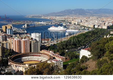MALAGA, SPAIN - JULY 11, 2008 - Elevated view of the bullring and port area Malaga Malaga Province Andalucia Spain Western Europe, July 11, 2008.