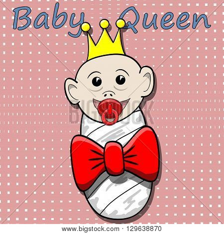 An illustration of a baby queen on pink background.