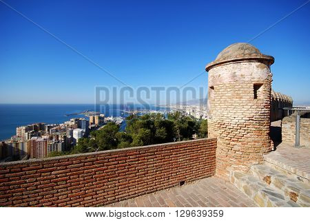 Gibralfaro castle watch tower with views over the city and port Malaga Malaga Province Andalucia Spain Western Europe.