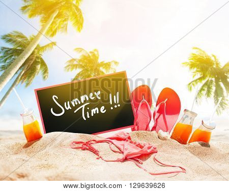 Summer Time Day Beach Seashore Accessories Palm Sand Juice Bikini Slippers Board Chalk Holiday Concept