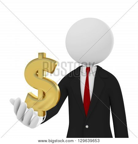 3d render businessman Isolated On White Background