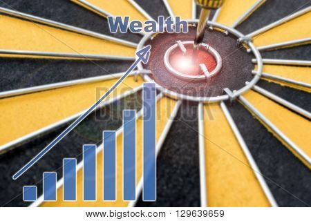 Closeup Wealth Dart target on bullseye with wealth graph Success business concept abstract background