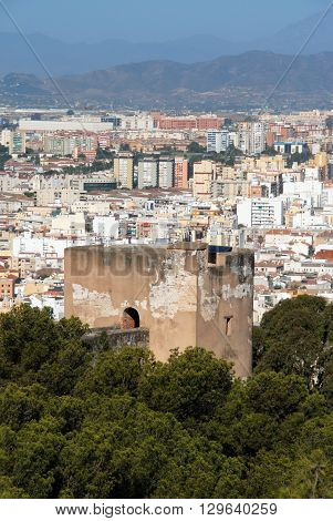 MALAGA, SPAIN - JULY 11, 2008 - Gibralfaro castletower with views over the city Malaga Malaga Province Andalucia Spain Western Europe, July 11, 2008.