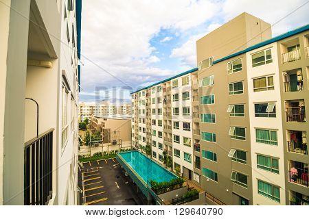 Background of the modern building living condominium