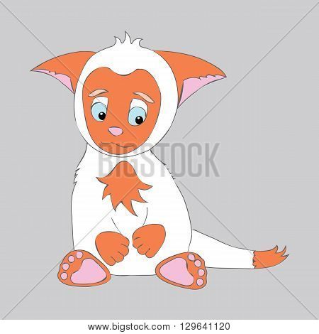 Little cute animal kitten. Cartoon, shy, sad animal kitty. Animal kitten with big ears. Orange and white animal kitten.