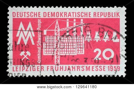 ZAGREB, CROATIA - JULY 02: a stamp printed in GDR shows Leipzig Fair, circa 1959, on July 02, 2014, Zagreb, Croatia