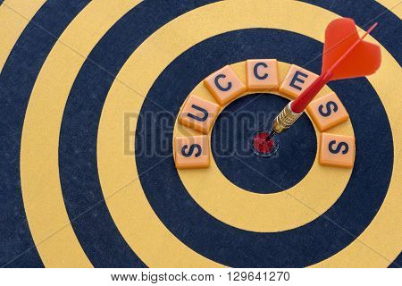 Dart hitting the bullseye target with word success on dartboard Success business finance investment concept symbol of successful