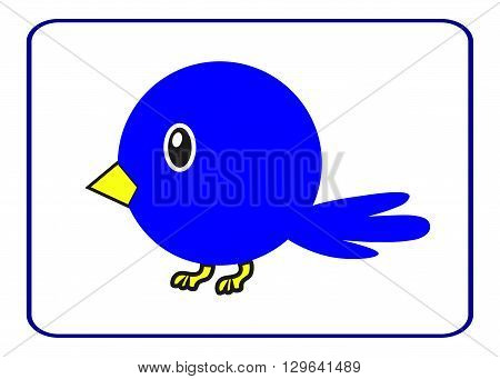 Blue bird with a yellow beak in the frame. Drawing of a cute cartoon birdie. Design element isolated on white background. Template suitable for comic clips or other uses. Stock vector illustration.