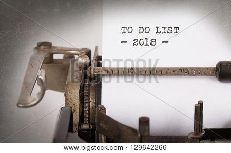 Vintage Typewriter  - To Do List 2018