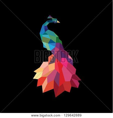 Peacock colored initial submissions to polygons design style low poly accurate side art animal quality for your business logo art