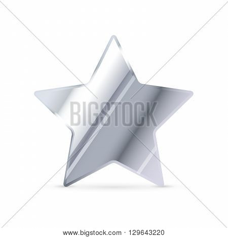 Glossy silver rating star with shadow isolated on white