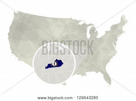 Polygonal Abstract Usa Map With Magnified Kentucky State.