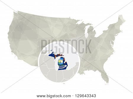 Polygonal Abstract Usa Map With Magnified Michigan State.