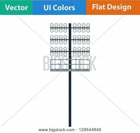 Flat Design Icon Of Football  Light Mast