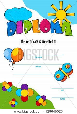 template vector of child diploma or certificate to be awarded. kindergarten Preschool kids Diploma design template. vector vertical certificate for competition, art contest or sports winner.