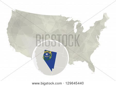 Polygonal Abstract Usa Map With Magnified Nevada State.