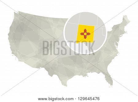 Polygonal Abstract Usa Map With Magnified New Mexico State.