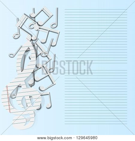 Vector illustration of a music background paper musical notes falling. All elements of the isolated individual can be placed as needed. There is a place for text or image.