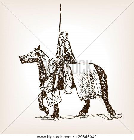 Medieval knight on horseback with a spear sketch style vector illustration. Old engraving imitation.
