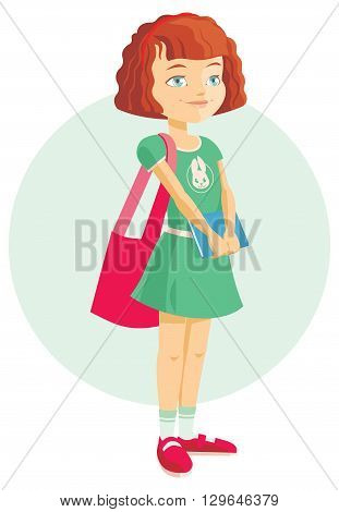pupil girl with school backpack and book