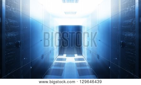 futuristic server room with modern communication and server equipment