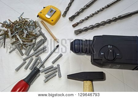 Many drill screws dowels gauge hammer drills