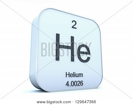 Helium element on white square icon 3D rendering