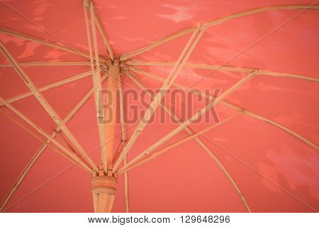 Umbrella traditional vintage style under view process in vintage style