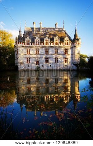Azay-le-Rideau chateau  in autumn, the Loire Valley, France, retro toned