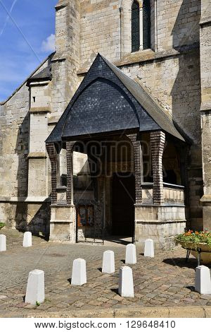 Les Andelys France - august 10 2015 : Saint Sauveur church of Petit Andelys build in 13 century