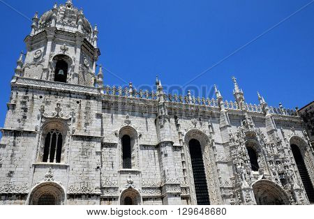 Lisbon Portugal - july 3 2010 : the renaissance Jeronimos monastery built by the king Manuel the first in 1502