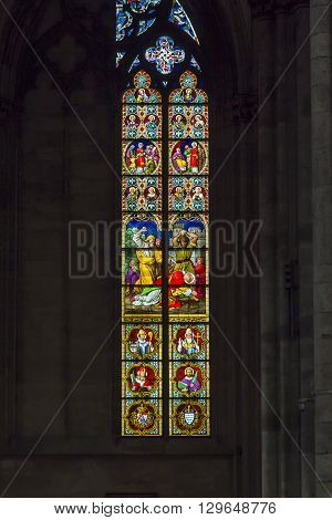 Cologne, Germany - May 16: This is one of the stained glass windows of the Cologne Cathedral May 16, 2013 in Cologne, Germany.