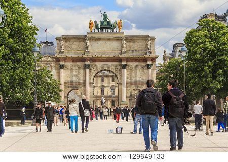 Paris, France - May 12: This triumphal arch - a monument in the Empire style erected on Carrousel square by Napoleon's order to perpetuate his victories May12, 2013 in Paris, France.