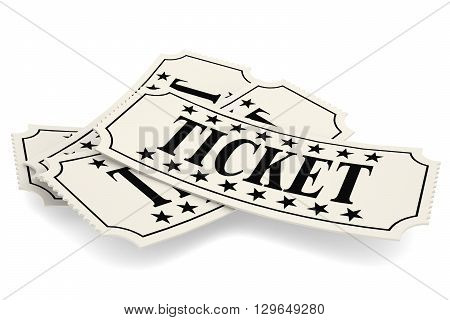 Ticket paper isolated on white 3D rendering