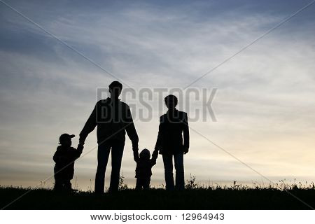 family of four on sky